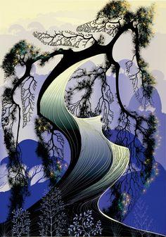 Bonsai - - Eyvind Earle -  Eyvind Earle was an American artist, author and illustrator, noted for his contribution to the background illustration and styling of Disney animated films in the 1950s.   Born: April 26, 1916, New York City  Died: July 20, 2000