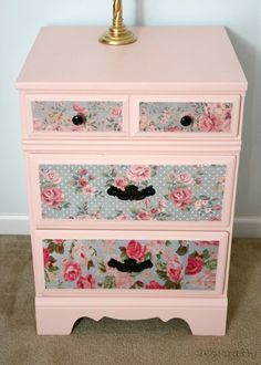 Chalk painted and decopauged bedside chest