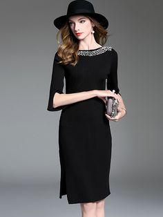 Chic O-Neck 3/4 Sleeve Beaded Split Bodycon Dress; Size: ONE SIZE; Color: Black,Green,Orange; Material: Acrylic; Style: Brief; Silhouette: Sheath Dresses; Pattern Type: Solid; Decoration: Diamonds; Dresses Length: Knee-Length; Sleeve Style: Flare Sleeve; Sleeve Length: Three Quarter; Waistline: Empire; Neckline: Slash neck; ; Price: US$ 61.99