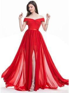 Vestidos princesa/ Formato A Off-the-ombro Sweep/Brush trem Tecido de seda Vestido de festa com Pregueado Frente aberta