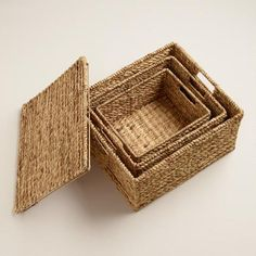Natural Water Hyacinth Lidded Janina Utility Baskets | World Market
