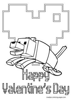 Special Minecraft Valentines Day Coloring Pages For Kids