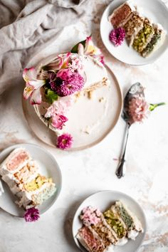 Easy and Fun vegan pastel layer cake that's perfect for a healthier Easter cake or spring dessert! Completely dairy free, gluten free, and naturally colored! Sweet Recipes, Vegan Recipes, Vegan Food, Cake Recipes, Vegan Buttercream, Natural Food Coloring, Spring Cake, Spring Desserts, Healthy Sugar
