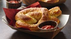 Add these pretzels that are made using Pillsbury® pizza crust and filled with pepperoni to your bread basket.