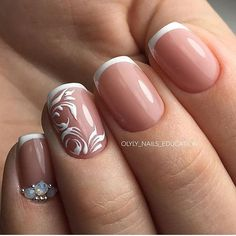 This Unique White Nail Art. You can modify your french tips using your own creativity as well as using this amazing nail art design with modified French Tips. The swirling white design and rhinestones are the great addition to French Tips. French Nails, Ongles Gel French, Prom Nails, Fun Nails, Pretty Nails, Wedding Nails, White Tip Nails, White Nail Art, Swirl Nail Art