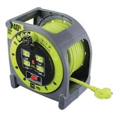 Masterplug Extension Cord Case Reel with 4 / 13 amp Integrated Outlets and Thermal Overload Breaker Electronics. integrated cord is kept neat ready-to-go 4 surge protected outlets ensure you have power where you need it. Cord Storage, Garage Storage, Easy Storage, Electrical Breakers, Ryobi Tools, Carpentry Tools, Workshop Storage, Workshop Ideas, Workshop Organization