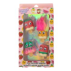 <P>Keep your lips smooth in a fun wacky style with this set of super cute fruit designed pucker pops lip glosses. Each pucker pop has a cool crazy design with the classic googly eyes and are all in fruit flavours. </P><UL><LI>Set of 4</LI><LI>Fruit flavoured lip gloss</LI></UL>