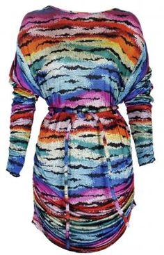 A multi-coloured 1970's Missoni print dress. The dress is made from super soft silk jersey and printed with a pixelated pattern in the colours of the rainbow, with lines of black in between. The dress has a slashed neckline and fastening at the back of the neck with a single button. The long batwing sleeves are gathered along the outside seam on to the shoulders, giving a draped effect. #Missoni #Silk #1970's #Snake #Atelier #Mayer