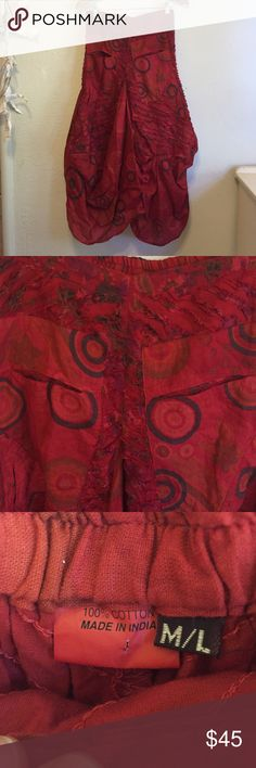 Bohemian Flamenco Inspired Skirt 100% cotton, rich dark red  over dye, hand quilted and sewn on a bias with quilted patches and tucks, this skirt is a statement piece. Wear it with back shoes and top and chunky statement piece for ratings and necklace. Skirts Asymmetrical