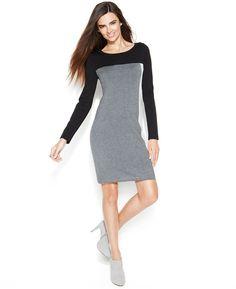 856faf82a4 INC International Concepts Long-Sleeve Colorblock Sweater Dress White  Closet