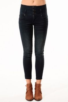High Waist Ankle Length Dark Blue Jeans…