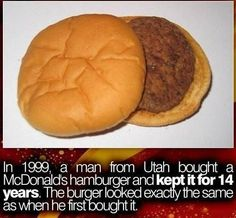 Did You Know That In 1999 A Man From Utah Bought A McDonald's Hamburger And...