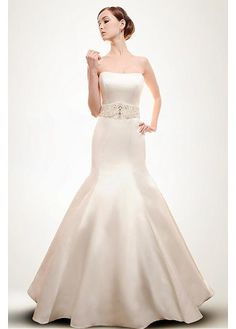SIMPLE SATIN MERMAID STRAPLESS SOFTLY SCOOPED NECKLINE NATURAL WAIST BRIDAL GOWN WITH BEADINGS AND RHINESTONES