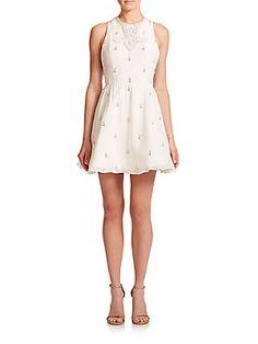 Alice   Olivia Gilda Lace-Back Rhinestone-Patterned Dress