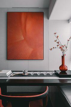 Interior Walls, Living Room Interior, Interior Design, Chinese Interior, Orange Home Decor, Orange House, Wall Treatments, Painting Frames, House Colors