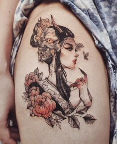 Geisha Tattoos For Girls Irezumi Tattoos - Tattoo MAG Body Art Tattoos, Girl Tattoos, Small Tattoos, Sleeve Tattoos, Tattoos For Women, Tatoos, Faith Tattoos, Belly Tattoos, Arabic Tattoos