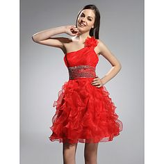 Ball Gown One Shoulder Short/ Mini Organza Elastic Woven Satin Cocktail Dress – USD $ 127.39