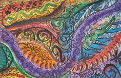 Swirling, dizzying, watercolor! An explosion of color and lines! Details, oh the details. Made with a wash of color, the detailed black over top, of course. How exciting!