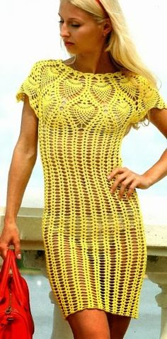 Sexy!!! Crochet yellow dress ♥LCD♥ with diagram