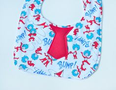 Baby Tie Bib - Dr Seuss Cat in the Hat - Red Tie Bib - Thing 1 Thing 2 New Baby Gift Idea on Etsy, $5.50