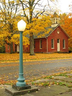 Autumn Schoolhouse, Berrien Springs, Michigan photo via bellefaye Berrien Springs, Old School House, School Days, School Teacher, Fall Images, Fall Photos, Autumn Scenery, Old Churches, Seasons Of The Year