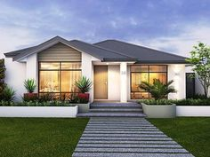 There's more to celebrate when you build with Celebration Homes. Choose from stunning new home designs that are stylish & functional. View our house plans now. Modern Bungalow House, Small House Exteriors, Modern House Plans, Modern House Design, Small House Plans, New Housing Developments, Front House Landscaping, One Level Homes, Ranch Style Homes
