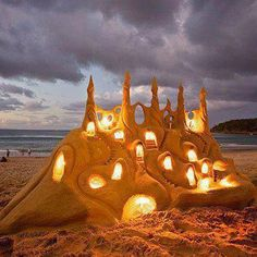 "bluepueblo: "" Illuminated Sand Castle, Santa Cruz, California photo via maka "" My sand castles never look this good!"