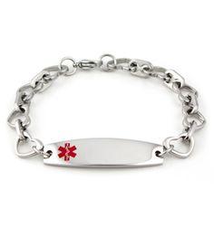 Open Heart Stainless Steel Medical ID Bracelet - Lauren's Hope Med ID Jewelry