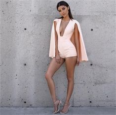 2016 Summer Style Rompers Women Jumpsuit New Fashion Sexy deep v neck jumpsuit romper pink Casual short overalls Bodysuit - TakoFashion - Women's Clothing & Fashion online shop Sexy Outfits, Sexy Dresses, Cool Outfits, Fashion Outfits, Fashion Tips, Fashion Trends, Summer Outfits, Look Fashion, New Fashion