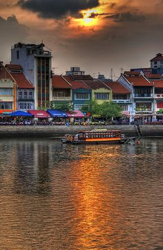 Sunset on Boat Quay ~ Singapore