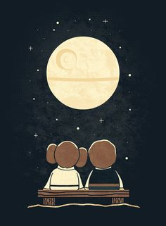 Cute Star Wars art ~ Han Solo and Princess Leia