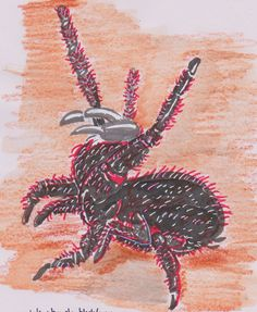 #inktober  day 24 hairy. I liked this revamped funnelweb spider.  black ink brushed on, red promarker and white ink uniball