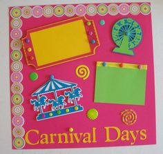 Carnival Days - Single 12x12 Scrapbook Page - Premade Scrapbook Pages - Girls Days on Etsy, $5.50