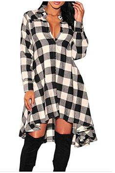 Aifer Womens Long Sleeve Plaids Irregular Hem Loose Casual Shirt Dress *** For more information, visit image link.Note:It is affiliate link to Amazon.
