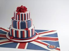 Create a patriotic masterpiece with red, white and blue icing. Queen 90th Birthday, 21st Birthday, British Wedding Themes, Union Jack Cake, 1940s Party, Blue Icing, Flag Cake, Novelty Cakes, Celebration Cakes