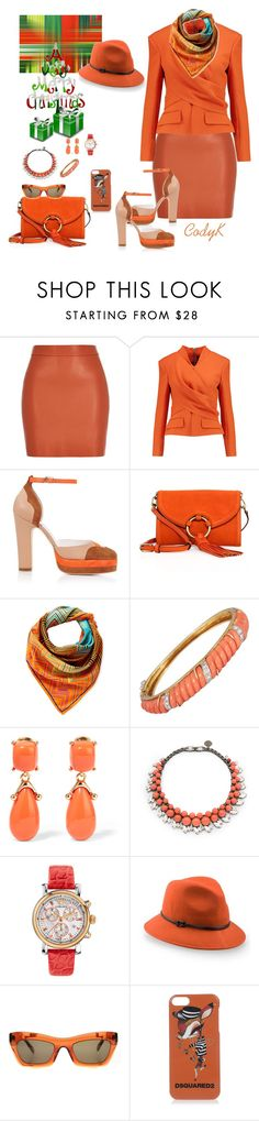 """""""Muted Orange"""" by cody-k ❤ liked on Polyvore featuring River Island, Balmain, Terry de Havilland, Tory Burch, Missoni, Kenneth Jay Lane, Ellen Conde, Versace, 7 For All Mankind and CÉLINE"""