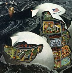 more good cutaway action Davis Meltzer, 1969 / Sci-Fi Art Retro Futuristic, Futuristic Architecture, Cyberpunk, 70s Sci Fi Art, Sci Fi Environment, Arte Tribal, Science Fiction Art, Future City, Fantasy Landscape