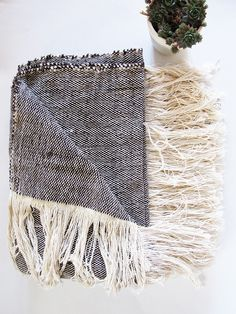 Moroccan Wool & Cotton Handwoven Throw