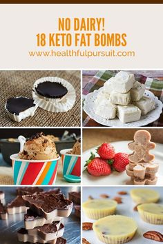 No Dairy! 18 Keto Fat Bombs (Healthful Pursuit) 18 dairy-free keto fat bombs to keep you fueled and satisfied, all day long! Fat bombs can be a life-saver, especially when you're just starting on your keto journey. These little powerhouses feel lik Dairy Free Keto Recipes, Ketogenic Recipes, Low Carb Recipes, Diet Recipes, Lactose Free Keto, Ketogenic Diet, Gluten Free, Healthy Recipes, Low Carb Sweets