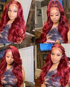 Baddie Hairstyles, Black Girls Hairstyles, Hair Ponytail Styles, Curly Hair Styles, Lace Front Wigs, Lace Wigs, Colored Curly Hair, Red Wigs, Burgundy Hair