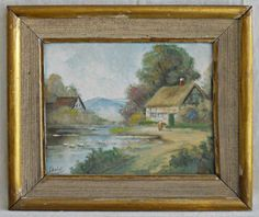 Antique Original Painting Ibaldi Continental Dreamy Landscape Thatch Roof Farm