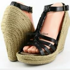 "Sam Edelman ""Leroy "" Black Wedge Sandal Cute summer espadrille Braided. Raffia  wedge.   T-strap leather  1"" Platform  with almost  4.5"" heel. Minimal wear. Adjustable ankle strap Sam Edelman Shoes Espadrilles"
