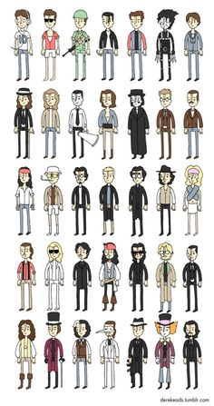 The Many Faces of Johnny Depp - Derek Eads Johnny Depp Characters, Johnny Depp Movies, Johnny Depp Personajes, Jonh Deep, Barnabas Collins, Here's Johnny, The Lone Ranger, Fanart, Many Faces