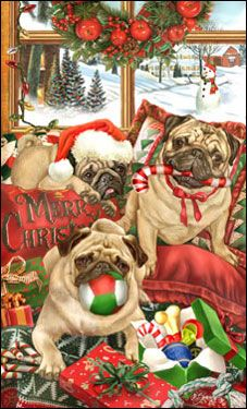 "SORRY SOLD OUT Pug Christmas Holiday Cards are 8 1/2"" x 5 1/2"""