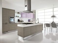 - Wooden kitchen with island ALESSIA | Kitchen with handles - Cucine Lube