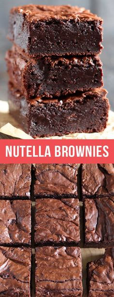 Nutella Brownies are perfectly thick, chewy, fudgy, and slightly gooey with a hint of chocolate hazelnut goodness. One of the best brownies I've ever had! #nutella #brownies #chocolate #chocolatelovers #browniesrecipe #dessert #food #recipe