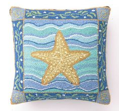 Coastal Starfish Hooked Beach Pillow buy at Blue Barnacles  www.bluebarnacles.com