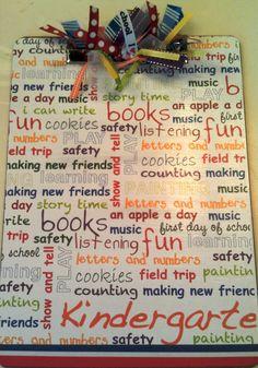 Kindergarten Personalized Teacher Clipboard by Slimdigm on Etsy, $17.00