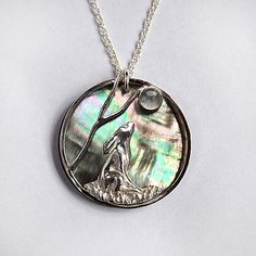 NEW Moongazing Hare Pendant In Silver with a by SylphSilver, £64.99
