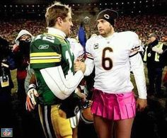 Aaron Rodgers shaking Jay Cutler's hand after the game.